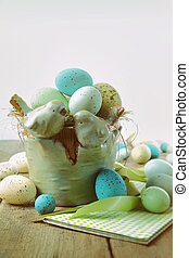 Speckled eggs in bowl with vintage look - Speckled eggs in...
