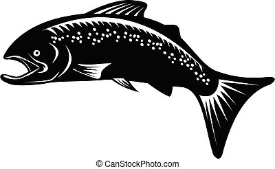speckled-trout-jumping-up-side-woodcut-retro-bw-cut