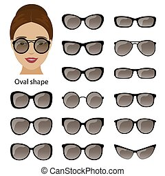 Spectacle frames and oval face