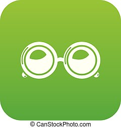 Spectacles icon green vector