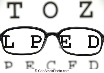 spectacles on an eye chart