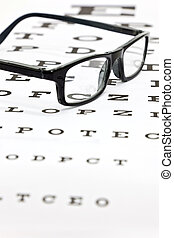 Spectacles on an eye test chart