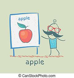 spectacles, présentation, pomme, homme