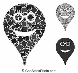 Spectacles smiley map marker Composition Icon of Raggy Pieces