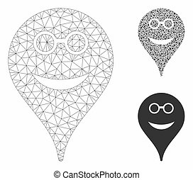 Spectacles Smiley Map Marker Vector Mesh Carcass Model and Triangle Mosaic Icon