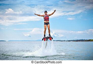 spectaculair, flyboard, nieuw, sportende, genaamd, extreem