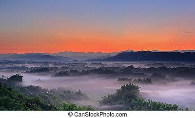 spectaculair, overzees van wolk, met, heuvel