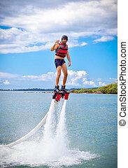 spectaculaire, flyboard, nouveau, sport, appelé, extrême