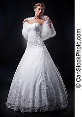 Spectaculaire, mariée, joli,  nuptial, blond, robe, blanc