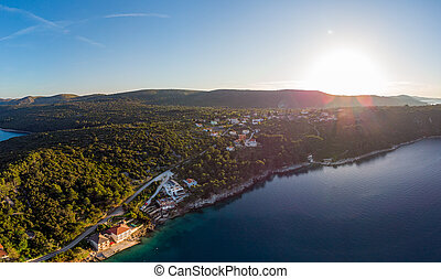 Spectacular aerial landscape with fishing village near peninsula stretching into the sea. Savar at Dugi otok. Croatia.