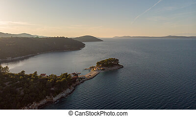 Spectacular aerial landscape with peninsula stretching into the sea. Savar at Dugi otok. Croatia.
