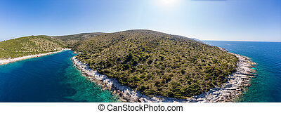 Spectacular aerial sea landscape of rocky coast and crystal clear water. Dugi otok, Croatia.