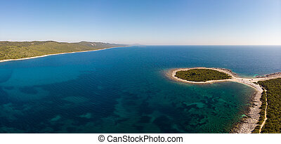 Spectacular aerial sea landscape of sandy beach and crystal clear water. Sakarun bay, Dugi otok.