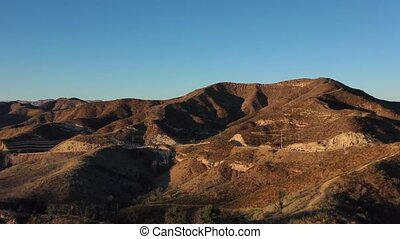 Spectacular aerial video of Malibu Creek State Park, California, at sunset, shot with a drone 4k footage.