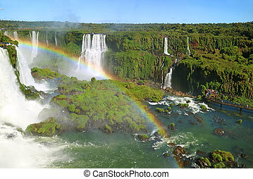 Spectacular Aerial View of Iguazu Falls with the Rainbow at Brazilian Side, Foz do Iguacu, Brazil, South America