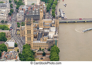 Spectacular aerial view of London, UK