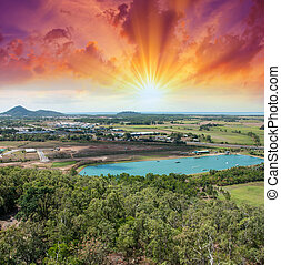 Spectacular aerial view of Queensland Countryside in winter.