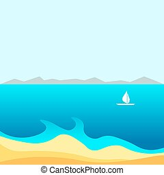 Spectacular bay with small white sailboat and mountains on horizon