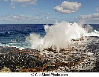 Spectacular beat of the waves at galapagos coast