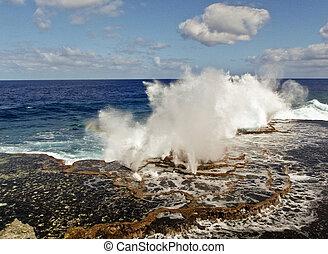 Spectacular beat of the waves at galapagos coast - Beta of...