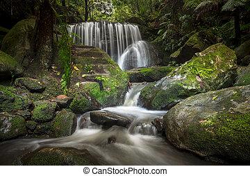 Spectacular cascading waterfall in Leura