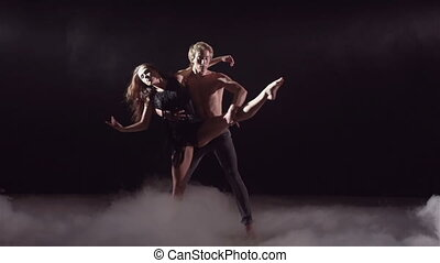 Spectacular Dance Show - Masterful dancer lifting his...