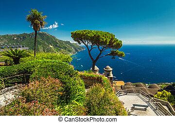 Spectacular fabulous garden of Villa Rufolo, Ravello, Amalfi coast, Italy
