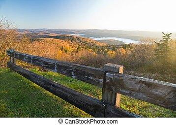 Mountain top vista on Vermont mountains on a pristine autumn morning