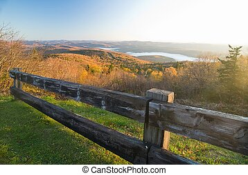 Spectacular fall mountain scenery - Mountain top vista on...