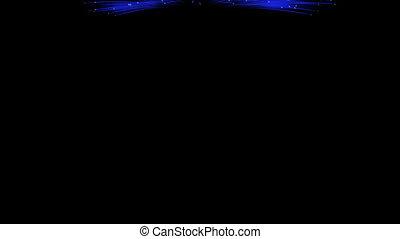 Spectacular Fireworks show, blue linear fireworks, multiple...