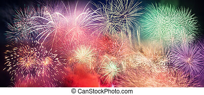 Spectacular fireworks show light up the sky. New year...