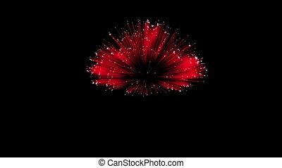 Spectacular Fireworks show, red linear fireworks, multiple...