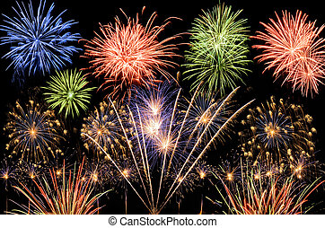 Spectacular multi-colored fireworks celebrating the New Year, the Independence Day or any other great event
