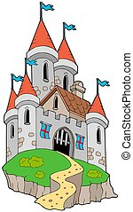 Spectacular medieval castle on hill - isolated illustration.