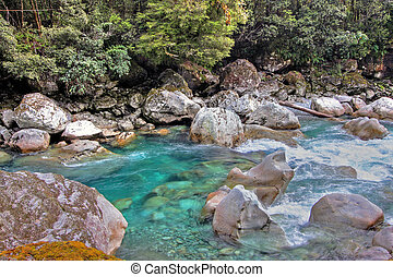 Spectacular mountain and river scenery in New Zealand