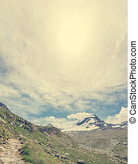 Spectacular mountain panoramic view from a hiking trail.