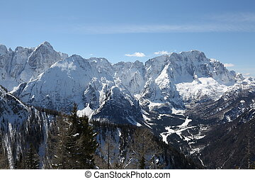 panorama of the whitewashed mountain range in northern Italy...