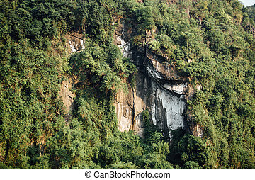 Spectacular rock face with green trees background, asia mountain
