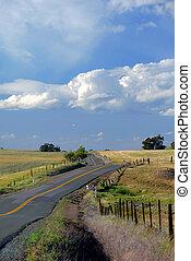 Rural Northern California Two Land Road Under Spectacular Skies, Digital Velvia