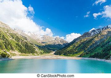 Spectacular scenic Big Almaty Lake ,Tien Shan Mountains in Almaty, Kazakhstan,Asia at summer
