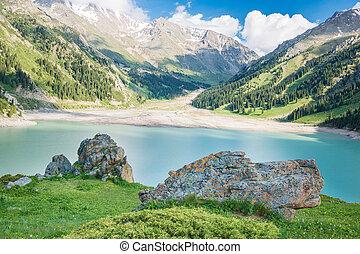Spectacular scenic Big Almaty Lake Tien Shan Mountains  in Almaty, Kazakhstan,Asia at summer