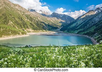 Spectacular scenic Big Almaty Lake, Tien Shan Mountains in Almaty, Kazakhstan,Asia at summer