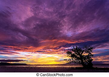 Spectacular stormy sunset in the Philippines