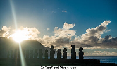 Spectacular sunrise over Ahu Tongariki Moai silhuettes in...