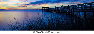 Spectacular sunset at the ocean pier