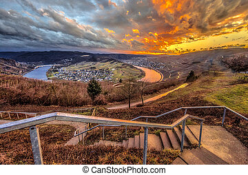 Spectacular sunset over Mosel river