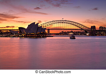 Spectacular sunset over Sydney Harbour