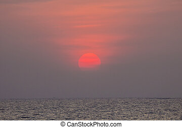 sunset over the ocean at Mumbai