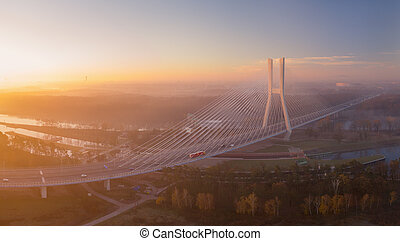 Spectacular view from drone on Redzinski Bridge in Wroc?aw, Poland.