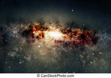 Spectacular view of a glowing galaxy, consisting of planets...